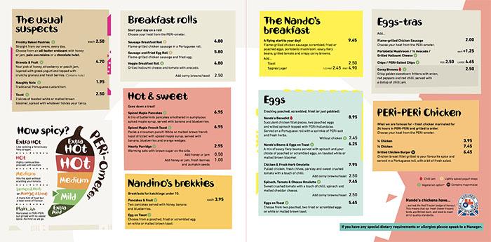 Nando's Breakfast Menu
