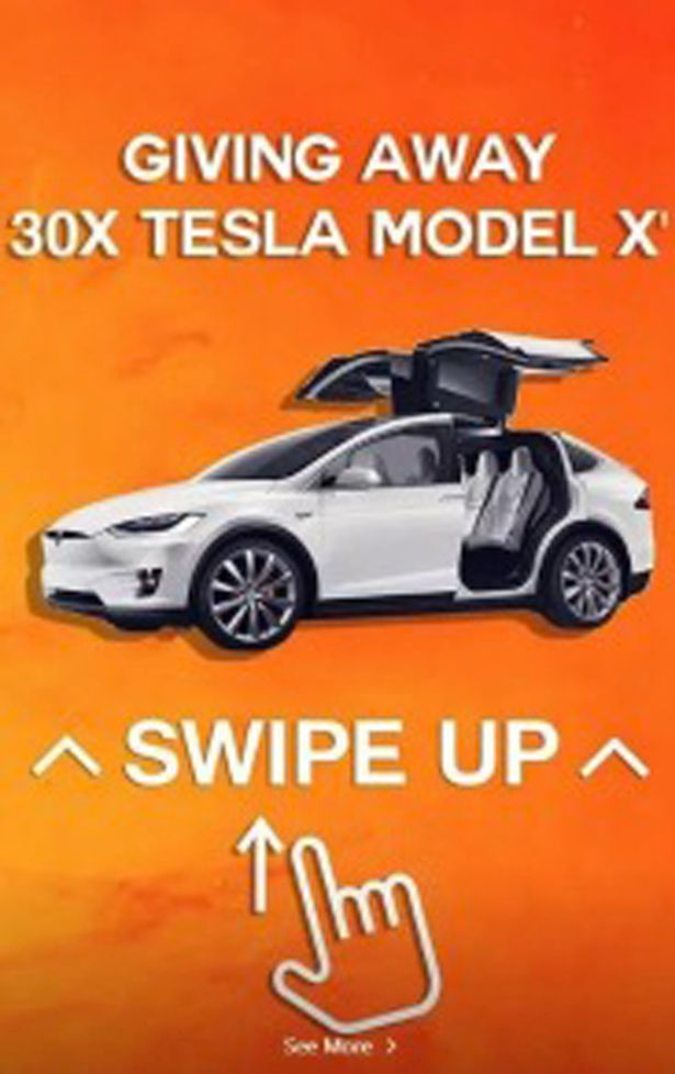 One of the hacker's posts that went up on Instagram, offering a free Tesla.
