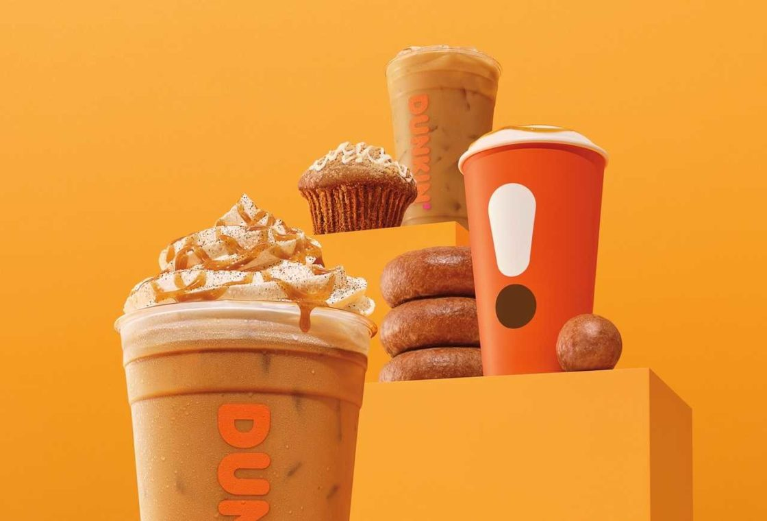 Dunkin' Donuts' fall range, including a cinnamon pumpkin latte.