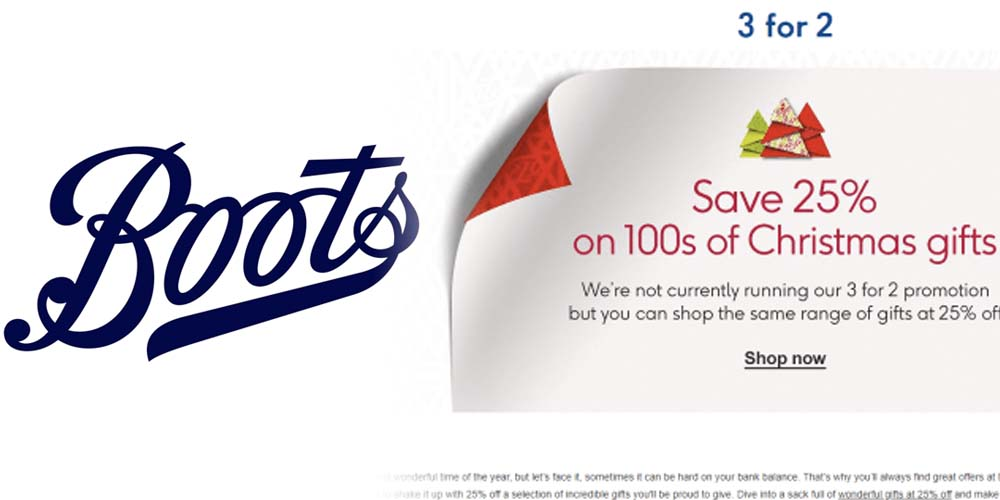 Boots Slashes 3-For-2 Christmas Deal